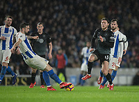 Brighton &amp; Hove Albion's Shane Duffy (left) under pressure from Burnley's Jeff Hendrick (right) <br /> <br /> Photographer David Horton/CameraSport<br /> <br /> The Premier League - Brighton and Hove Albion v Burnley - Saturday 9th February 2019 - The Amex Stadium - Brighton<br /> <br /> World Copyright &copy; 2019 CameraSport. All rights reserved. 43 Linden Ave. Countesthorpe. Leicester. England. LE8 5PG - Tel: +44 (0) 116 277 4147 - admin@camerasport.com - www.camerasport.com