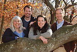 Newsday staff members who were involved in the Natural World Project- left to right-Irene Virag; Bryn Nelson; Jennifer Smith; and Joe Haberstroh, gathered together in West Hills County Park in West Hills on Wednesday November 10, 2004. (Photo / Jim Peppler).
