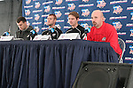 08 December 2005: New Mexico head coach Jeremy Fishbein (r) with players (right to left) Jeff Rowland and Brandon Moss during a press conference at SAS Stadium in Cary, North Carolina in preparation for the NCAA Men's Division I College Cup semifinals to be played the following day.