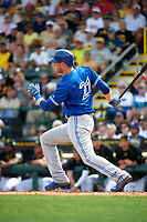 Toronto Blue Jays left fielder Michael Saunders (21) at bat during a Spring Training game against the Pittsburgh Pirates on March 3, 2016 at McKechnie Field in Bradenton, Florida.  Toronto defeated Pittsburgh 10-8.  (Mike Janes/Four Seam Images)