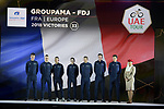Groupama-FDJ team on stage at the inaugural UAE Tour 2019 opening ceremony and team presentation held in the Louvre Abu Dhabi, United Arab Emirates. 23rd February 2019.<br /> Picture: LaPresse/Fabio Ferrari | Cyclefile<br /> <br /> <br /> All photos usage must carry mandatory copyright credit (© Cyclefile | LaPresse/Fabio Ferrari)