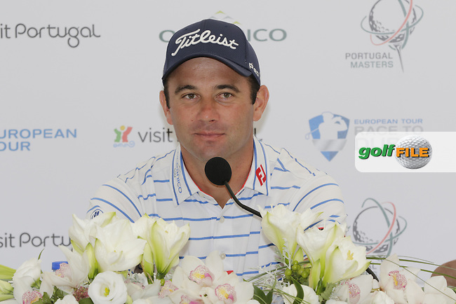 Ricardo Santos speaks to the media during Wednesday's Pro-Am of the Portugal Masters 2015 held at the Oceanico Victoria Golf Course, Vilamoura Algarve, Portugal. 15-18th October 2015.<br /> Picture: Eoin Clarke   Golffile
