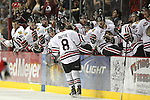 04/30/11--Winterhawks' Ty Rattie high-fives teammates after scoring a goal against Spokane in Game 5 of the Western Conference Championship at the Rose Garden...Photo by Jaime Valdez........................................