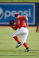 GCL Nationals left fielder Ricardo Mendez (16) during warmups before the first game of a doubleheader against the GCL Mets on July 22, 2017 at The Ballpark of the Palm Beaches in Palm Beach, Florida.  GCL Mets defeated the GCL Nationals 1-0 in a seven inning game that originally started on July 17th.  (Mike Janes/Four Seam Images)
