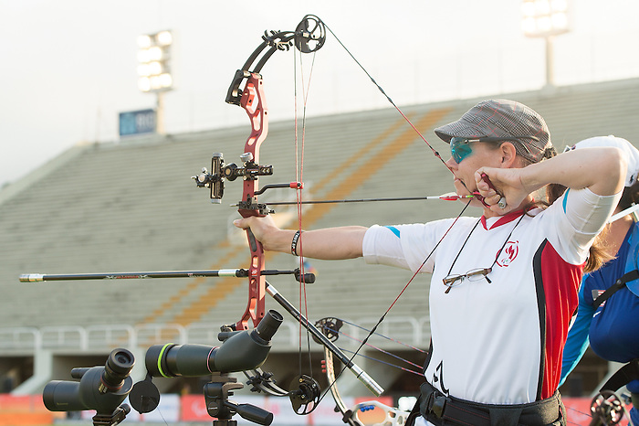 RIO DE JANEIRO - 10/9/2016:  Karen Van Nest competes in the Women's Individual Compound - Open at the Sambodromo during the Rio 2016 Paralympic Games. (Photo by Matthew Murnaghan/Canadian Paralympic Committee