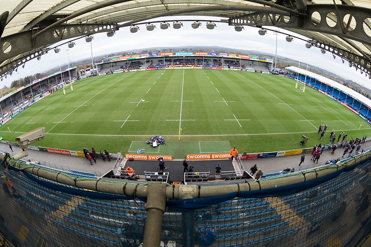 A general view of Sandy Park, home to Exeter Chiefs <br /> <br /> Photographer Bob Bradford/CameraSport<br /> <br /> Aviva Premiership - Exeter Chiefs v Bath Rugby - Saturday 2nd December 2017 - Sandy Park - Exeter<br /> <br /> World Copyright &copy; 2017 CameraSport. All rights reserved. 43 Linden Ave. Countesthorpe. Leicester. England. LE8 5PG - Tel: +44 (0) 116 277 4147 - admin@camerasport.com - www.camerasport.com