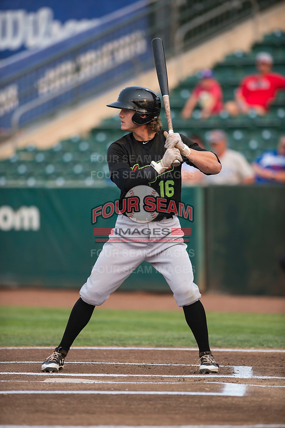 Great Falls Voyagers shortstop Travis Moniot (16) at bat during a Pioneer League against the Ogden Raptors at Lindquist Field on August 23, 2018 in Ogden, Utah. The Ogden Raptors defeated the Great Falls Voyagers by a score of 8-7. (Zachary Lucy/Four Seam Images)