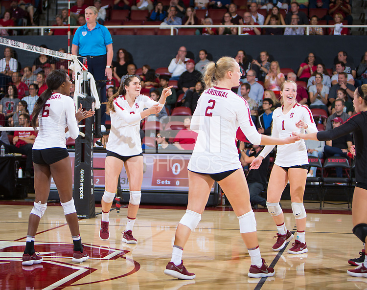 STANFORD, CA - October 12, 2018: Tami Alade, Audriana Fitzmorris, Kathryn Plummer, Jenna Gray, Morgan Hentz at Maples Pavilion. No. 2 Stanford Cardinal swept No. 21 Washington State Cougars, 25-15, 30-28, 25-12.