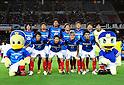 "F Yokohama F Marinos team group line-up,..JULY 23, 2011 - Football :..Yokohama F Marinos players (Top row - L to R) Shunsuke Nakamura, Hiroyuki Taniguchi, Yuji Nakazawa, Masashi Oguro, Yuzo Kurihara, Kazuma Watanabe, Hiroki Iikura, (Bottom row - L to R) Yasuhiro Hato, Shingo Hyodo, Yuzo Kobayashi and Shohei Ogura pose for a team photo with the club mascots ""Marinos-kun""(L) and ""Marinosuke""(R) before the 2011 J.League Division 1 match between Yokohama F Marinos 1-0 Vissel Kobe at Nissan Stadium in Kanagawa, Japan. (Photo by AFLO)"