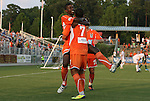 23 June 2012: Carolina's Breiner Ortiz (COL) (left) celebrates his goal with Austin da Luz (7) and Zack Shilawski (22). The Carolina RailHawks defeated FC Edmonton 2-0 at WakeMed Soccer Stadium in Cary, NC in a 2012 North American Soccer League (NASL) regular season game.