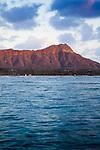 Diamond Head as seen from Waikiki Beach at sunset, Oahu, HI