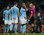 Fernandinho of Manchester City reacts after Referee Robert Madley send off Kyle Walker of Manchester City (l) during the Premier League match at the Eithad Stadium, Manchester. Picture date 21st August 2017. Picture credit should read: Simon Bellis/Sportimage