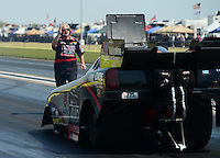 Sept. 22, 2012; Ennis, TX, USA: NHRA crew member for funny car driver Blake Alexander during qualifying for the Fall Nationals at the Texas Motorplex. Mandatory Credit: Mark J. Rebilas-