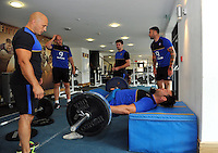 Nathan Catt in the gym. Bath Rugby pre-season training on July 21, 2015 at Farleigh House in Bath, England. Photo by: Patrick Khachfe / Onside Images