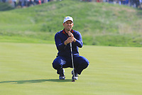 Sergio Garcia (Team Europe) on the 5th green during the Friday Foursomes at the Ryder Cup, Le Golf National, Ile-de-France, France. 28/09/2018.<br /> Picture Thos Caffrey / Golffile.ie<br /> <br /> All photo usage must carry mandatory copyright credit (&copy; Golffile | Thos Caffrey)