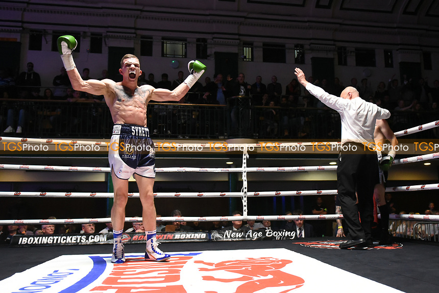 Lewis Syrett (left) defeats Dean Croft during a Boxing Show at York Hall on 22nd April 2017