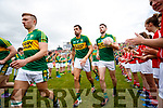 James O'Donoghue, Anthony Maher, Paul Geaney Kerry team takes to the field before the Munster Senior Football Final at Fitzgerald Stadium on Sunday.