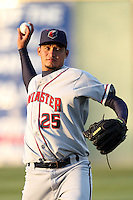 David Martinez #25 of the Lancaster JetHawks warms up before pitching against the Rancho Cucamonga Quakes at The Epicenter on April 10, 2012 in Rancho Cucamonga,California.  Rancho Cucamonga defeated Lancaster 7-5.(Larry Goren/Four Seam Images)