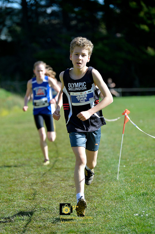 Action from the Athletics Wellington - Kids Cross Country at Grenada North Park, Tawa, New Zealand on Sunday 16 August  2015.<br /> Photo by Jo Hawes.<br /> www.photowellington.photoshelter.com.