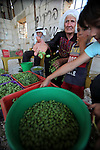 A Palestinian woman from Bighith family picks sour grapes at their farm in the West Bank village of Beit Ommar near Hebron, July 07, 2013. Bighith family dry the grapes to sell it as a new kind of spices following grinding it, after low prices of local grapes due to import it from Israeli settlement farms. Photo by Mamoun Wazwaz