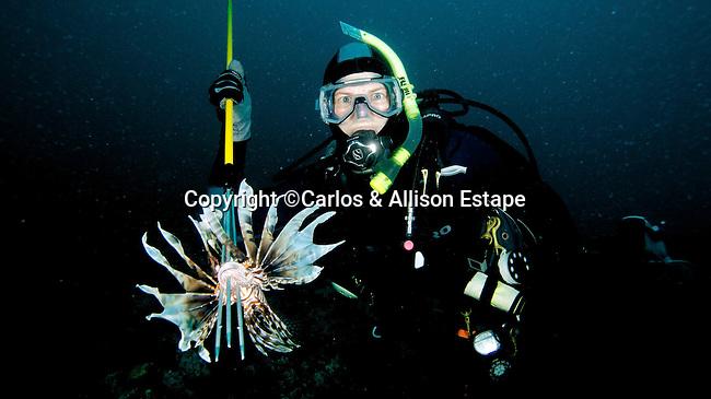 Diver and speared Lionfish, Islamorada, Florida