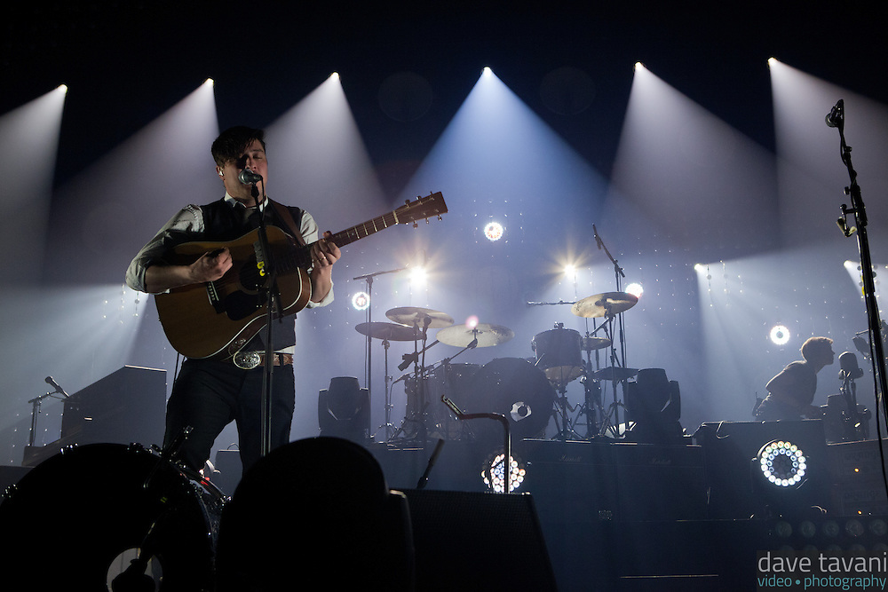 """Marcus Mumford opens with """"Babel,"""" the title track of Mumford & Sons' latest Grammy winning album at the Susquehanna Bank Center on February 16, 2013."""