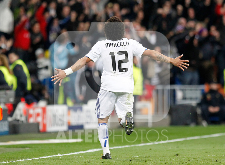Madrid (16/03/2011).- Estadio Santiago Bernabeu..UEFA Champion League..Real Madrid 3 - Olympique Lyonnais 0.Marcelo celebra un gol...©Alex Cid-Fuentes/ALFAQUI...