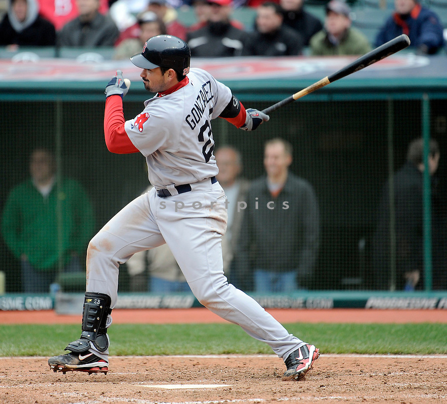 ADRIAN GONZALEZ, of the Boston Red Sox, in action during the Red Sox game against the Cleveland Indians on April 7, 2011 at Progressive Field in Cleveland, Ohio.  The Indians beat the Red Sox 1-0.