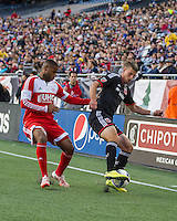 Foxborough, Massachusetts - May 23, 2015:  The New England Revolution (red) tied DC United (black) 1-1 in a Major League Soccer (MLS) match at Gillette Stadium.