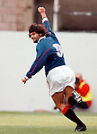 Dundee Utd v Rangers 25.10.97: Marco Negri celebrates breaking the record of scoring in 9 consecutive matches