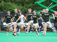 College Park, MD - May 19, 2018: Maryland Terrapins players celebrate a victory after the quarterfinal game between Navy and Maryland at  Field Hockey and Lacrosse Complex in College Park, MD.  (Photo by Elliott Brown/Media Images International)