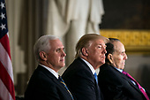 U.S. Vice President Mike Pence, U.S. President Donald Trump, and former Senator Bob Dole attend a congressional Gold Medal ceremony for Dole, in Washington D.C., U.S., on Wednesday, Jan. 17, 2018. Photographer: Al Drago/Bloomberg<br /> Credit: Al Drago / Pool via CNP