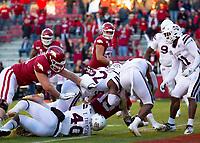 Mississippi State Bulldogs vs Arkansas Razorback - Arkansas  Freshman K.J. Jefferson (13) scores touchdown in the 4th quarter against Mississippi State<br /> at Donald W. Reynolds Stadium, Fayetteville, on Saturday, November 2, 2019 / Special to NWA Democrat Gazette David Beach