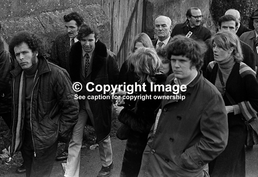 British screen and stage actress Vanessa Redgrave (extrem right) taking part in a N Ireland Civil Rights Association march and rally in Newry, Co Down, N Ireland, UK, 6th February 1972. Also in the photo is (extreme left) Eamonn McCann, Londonderry civil rights activist and journalist. 197202060123a<br /> <br /> Copyright Image from Victor Patterson, 54 Dorchester Park, Belfast, UK, BT9 6RJ<br /> <br /> t1: +44 28 9066 1296<br /> t2: +44 28 9002 2446<br /> m: +44 7802 353836<br /> <br /> e1: victorpatterson@me.com<br /> e2: victorpatterson@gmail.com<br /> <br /> www.victorpatterson.com<br /> <br /> IMPORTANT: Please see my Terms and Conditions of Use at www.victorpatterson.com
