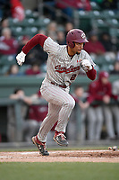 Designated hitter Noah Campbell (2) of the South Carolina Gamecocks runs to first in a game against the Furman Paladins on Tuesday, March 19, 2019, at Fluor Field at the West End in Greenville, South Carolina. South Carolina won, 12-7. (Tom Priddy/Four Seam Images)