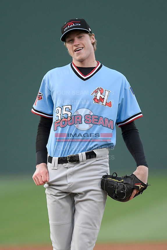 Pitcher Sean Chandler (35) of the Hickory Crawdads in a game against the Greenville Drive on Wednesday, May 15, 2019, at Fluor Field at the West End in Greenville, South Carolina. Greenville won, 6-5. (Tom Priddy/Four Seam Images)