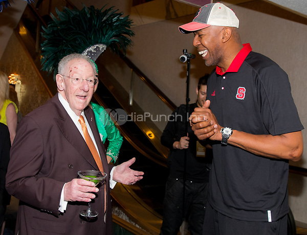LAS VEGAS, NV - March 16, 2017: ***HOUSE COVERAGE*** Former Las Vegas Mayor and Host Committee Chairman Oscar B. Goodman and Former NBA Player Thurl Bailey pictured at Hoops Central Basketball viewing event at Westgate Las Vegas Resort & Casino in Las vegas, NV on March 16, 2017. Credit: Erik Kabik Photography/ MediaPunch