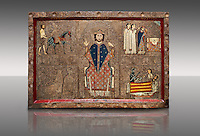 Romanesque painted Gia altar front<br /> <br /> Second quarter of the thirteenth century from the church of Santa Maria Gia and Xia, High Ribagorca, Huesca, Spain<br /> <br /> Acquired by the National Art Museum of Catalonia, Barcelona 1932. Ref: 3902 MNAC.<br /> <br /> Romanesque painted altar front from Santa Maria Gia, Spain, showing Scenes from the life of Saint Martin. The  exceptionally the bottom frame remains the signature of the author, a painter named John (Johannes). This work is typical of the Ribagorca style and incorporates early gothic compositional styles and narrative that subtly illuminates the faces. Also typical of the Ribagorca workshop are the  decorated plaster reliefs on the entire surface of the front, which is covered with the characteristic gold leaf.
