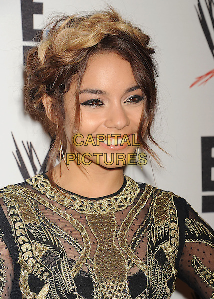 Vanessa Hudgens<br /> WWE &amp; E! Entertainment's &quot;SuperStars For Hope&quot; supporting Make-A-Wish at The Beverly Hills Hotel in Beverly Hills, CA., USA.<br /> August 15th, 2013<br /> headshot portrait smiling gold black embroidered hair up braid plait dyed blonde  <br /> CAP/ROT/TM<br /> &copy;Tony Michaels/Roth Stock/Capital Pictures