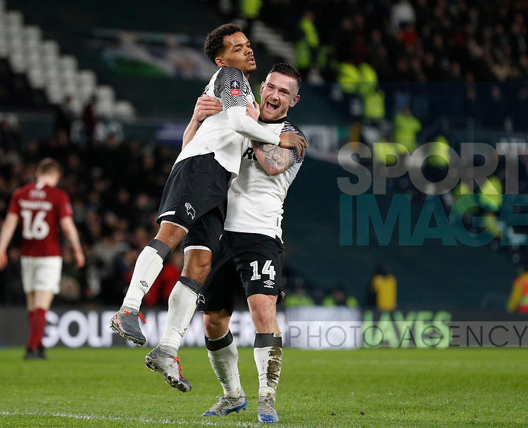 Duane Holmes of Derby County (l) celebrates scoring the second goal with Jack Marriott of Derby County (r) during the FA Cup match at the Pride Park Stadium, Derby. Picture date: 4th February 2020. Picture credit should read: Darren Staples/Sportimage