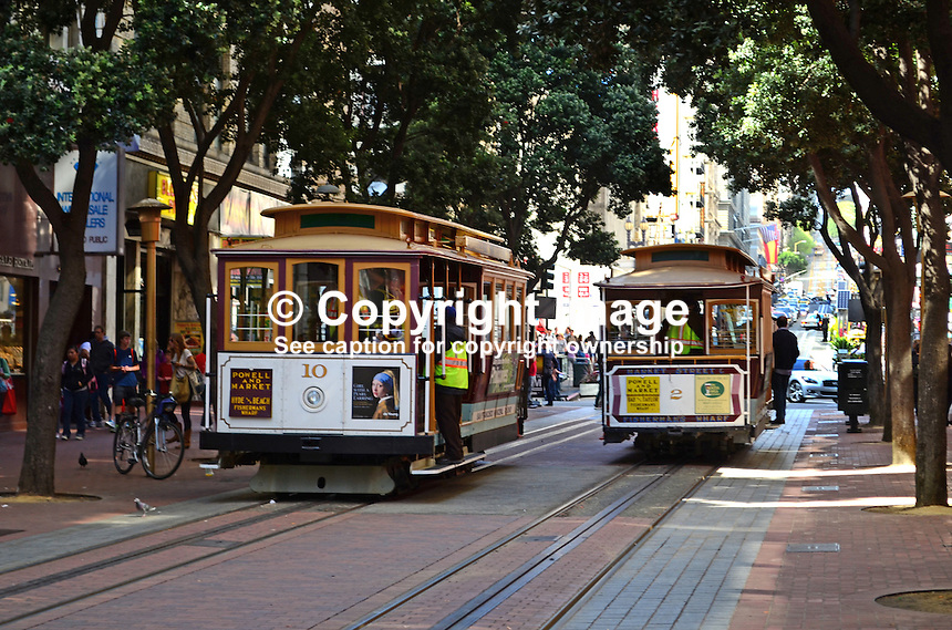 Cable Cars, Powell Street, San Francisco, California, USA, 201304131317<br /> <br /> Copyright Image from Victor Patterson, 54 Dorchester Park, Belfast, UK, BT9 6RJ<br /> <br /> Tel: +44 28 9066 1296<br /> Mob: +44 7802 353836<br /> Voicemail +44 20 8816 7153<br /> Skype: victorpattersonbelfast<br /> Email: victorpatterson@me.com<br /> Email: victorpatterson@ireland.com (back-up)<br /> <br /> IMPORTANT: If you wish to use this image or any other of my images please go to www.victorpatterson.com and click on the Terms &amp; Conditions. Then contact me by email or phone with the reference number(s) of the image(s) concerned.