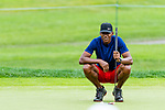 CROMWELL, CT. 19 June 2019-061919 - Hall of Fame inductee and former NBA and UConn star Ray Allen looks over his birdie putt on the par 3 eighth hole, during the Travelers Championship Pro-am day at the TPC River Highlands in Cromwell on Wednesday. Bill Shettle Republican-American