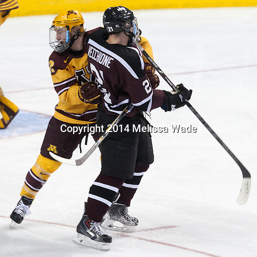 Travis Boyd (MN - 22), Mike Vecchione (Union - 21) - The Union College Dutchmen defeated the University of Minnesota Golden Gophers 7-4 to win the 2014 NCAA D1 men's national championship on Saturday, April 12, 2014, at the Wells Fargo Center in Philadelphia, Pennsylvania.