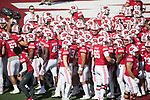Wisconsin Badgers huddle prior to an NCAA College Football game against the Florida Atlantic Owls Saturday, September 9, 2017, in Madison, Wis. The Badgers won 31-14. (Photo by David Stluka)