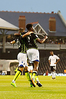GOAL - Bristol Rovers' Ellis Harrison is congratulated for his goal during the Carabao Cup match between Fulham and Bristol Rovers at Craven Cottage, London, England on 22 August 2017. Photo by Carlton Myrie.