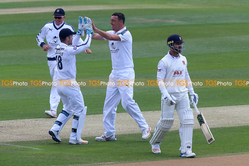 Kyle Abbott of Hampshire celebrates taking the wicket of Ryan ten Doeschate during Essex CCC vs Hampshire CCC, Specsavers County Championship Division 1 Cricket at The Cloudfm County Ground on 20th May 2017