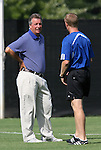 24 August 2008: Duke head coach Robbie Church (left) with associate coach Billy Lesesne (r). The Duke University Blue Devils defeated the Coastal Carolina University Lady Chanticleers 9-0 at Koskinen Stadium in Durham, North Carolina in an NCAA Division I Women's college soccer game.
