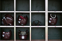 Mississippi State Bulldogs helmets before Game 1 of the 2013 Men's College World Series Finals against the UCLA Bruins on June 24, 2013 at TD Ameritrade Park in Omaha, Nebraska. The Bruins defeated the Bulldogs 3-1, taking a 1-0 lead in the best of 3 series. (Andrew Woolley/Four Seam Images)