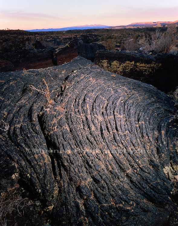 """Pahoehoe lava, Mt. Taylor distant El Malpais NM  NEW MEXICO"""