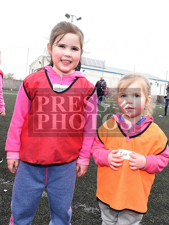 Abbie Marie Taaffe and Zoe Woods who took part in the St Mary's GAA Club Academy for 4-7 year olds. Photo:Colin Bell/pressphotos.ie